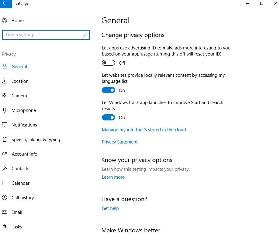 windows 10 review privacy settings